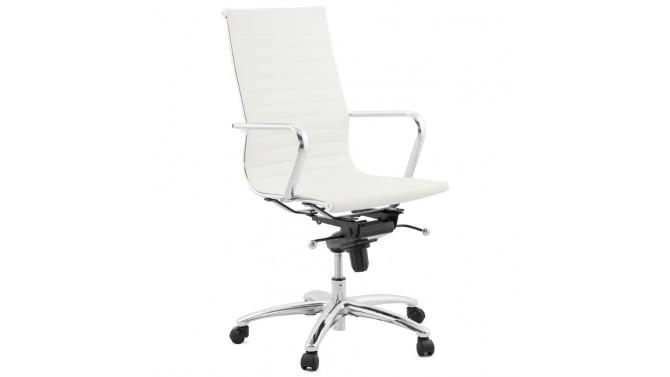 Chaise De Bureau Design Blanche En Cuir Simili Enzo Gdegdesign