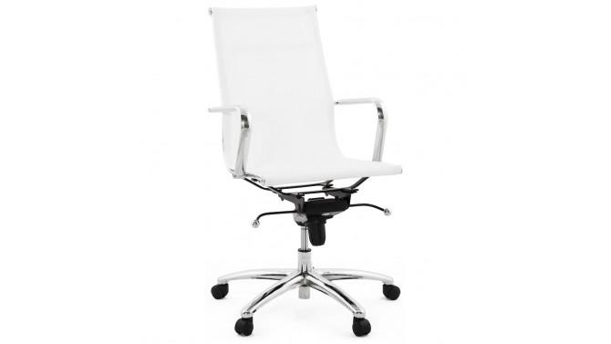 Fauteuil de bureau design en simili cuir blanc - Isaac