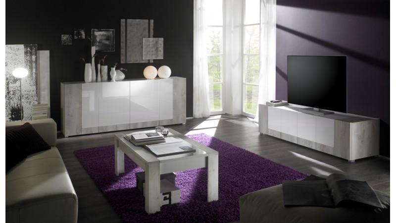 Banc tv 4 portes rev tement bois clair et laqu blanc for Meuble tv bois et blanc laque