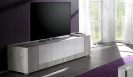 Meuble TV 4 portes bois et laqué blanc - Hazel