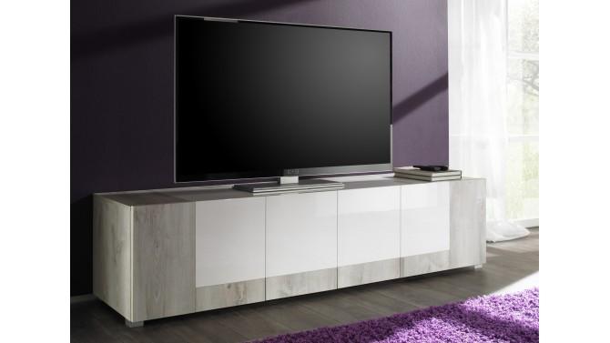 Banc tv 4 portes rev tement bois clair et laqu blanc for Banc tv blanc et bois