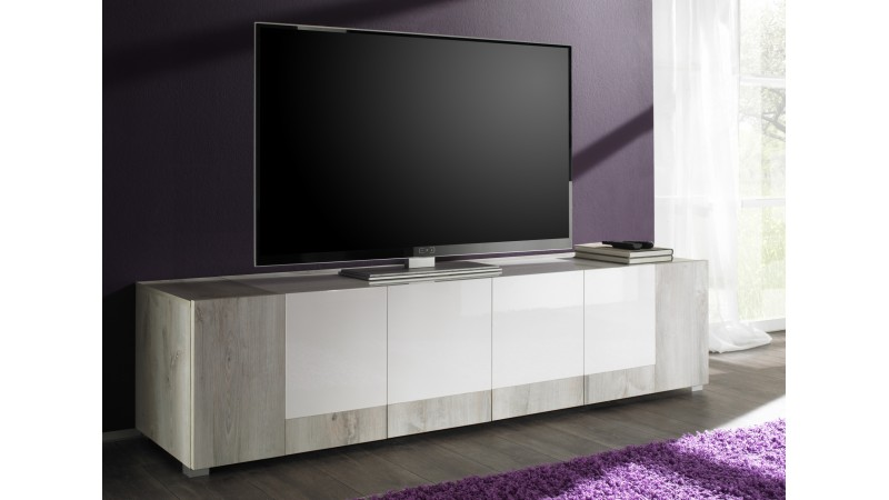 banc tv 4 portes rev tement bois clair et laqu blanc hazel gdegdesign. Black Bedroom Furniture Sets. Home Design Ideas