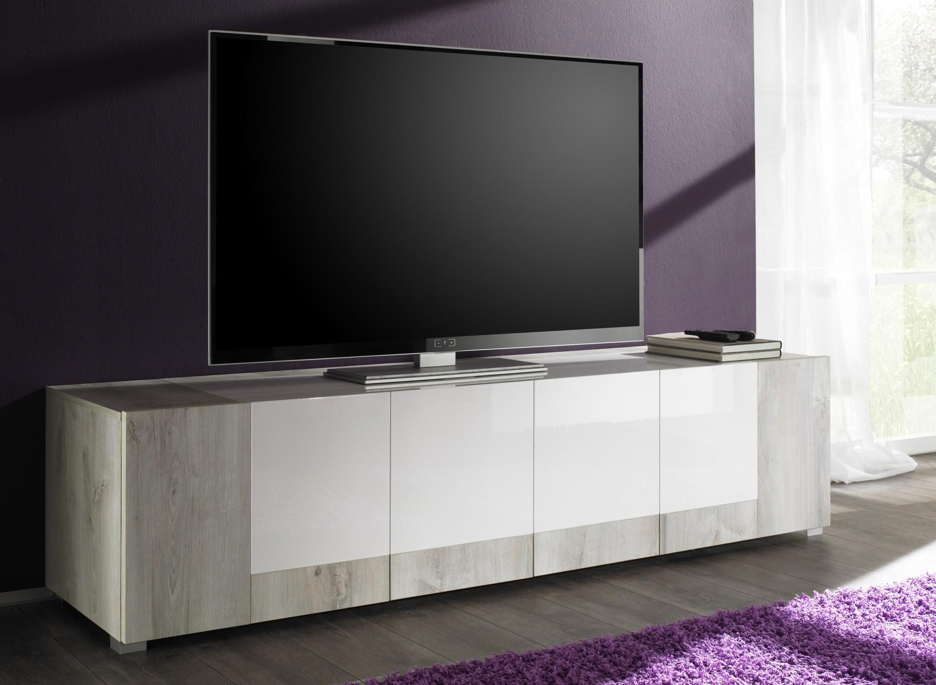 Banc Tv 4 Portes Rev Tement Bois Clair Et Laqu Blanc Hazel  # Meuble Tv Laque Blanc Design