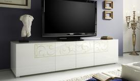 Banc TV laqué blanc avec arabesques - Vito