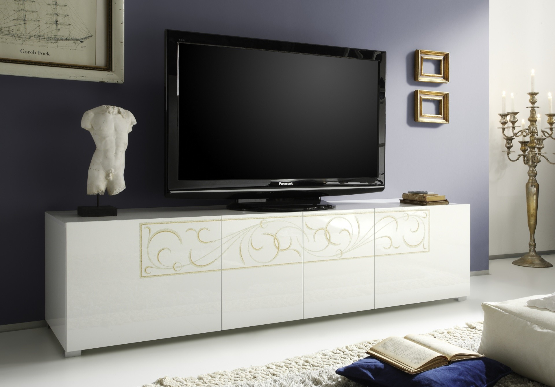 Meuble Tv Design 160 Cm Laqu Blanc Mat Et B Ton Dov Gdegdesign # Meuble Tv Laque Couleur Taupe
