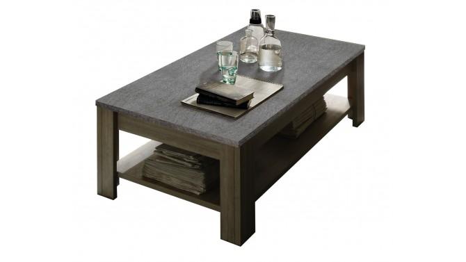 Table de salon rectangulaire bois avec plateau ardoise Aspar - GdeGdesign