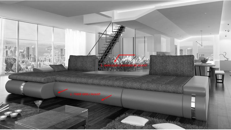 Canape D Angle Convertible Simili Cuir Et Tissu Klaus Gdegdesign