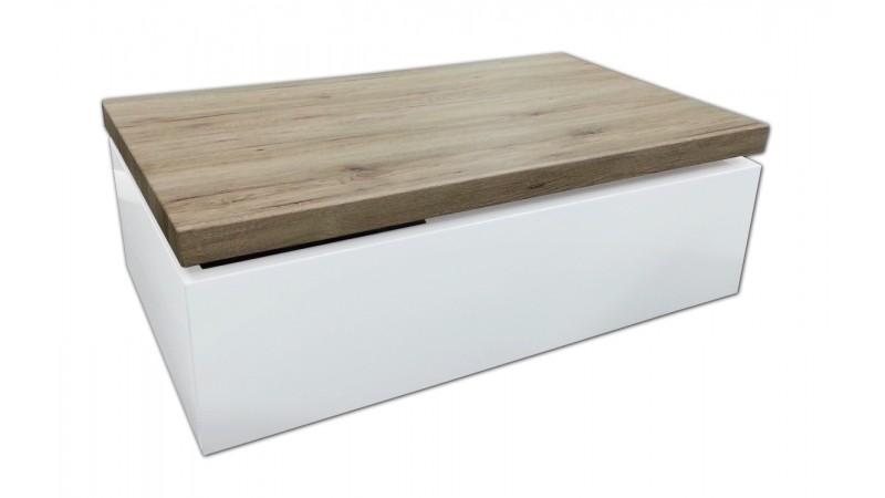 Table de salon rectangulaire laqu e blanche et bois jarl for Table blanche et bois
