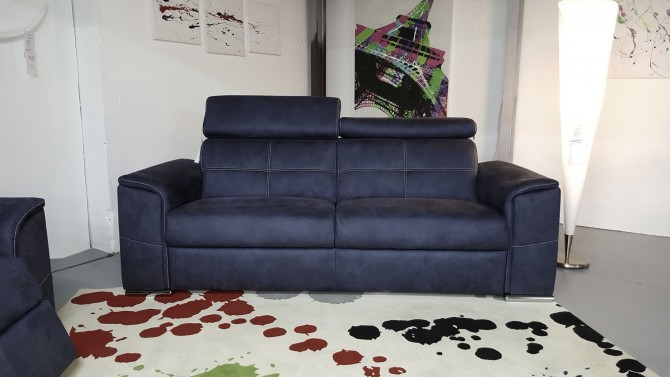 Canapé 3 places tissu bleu - Andrew