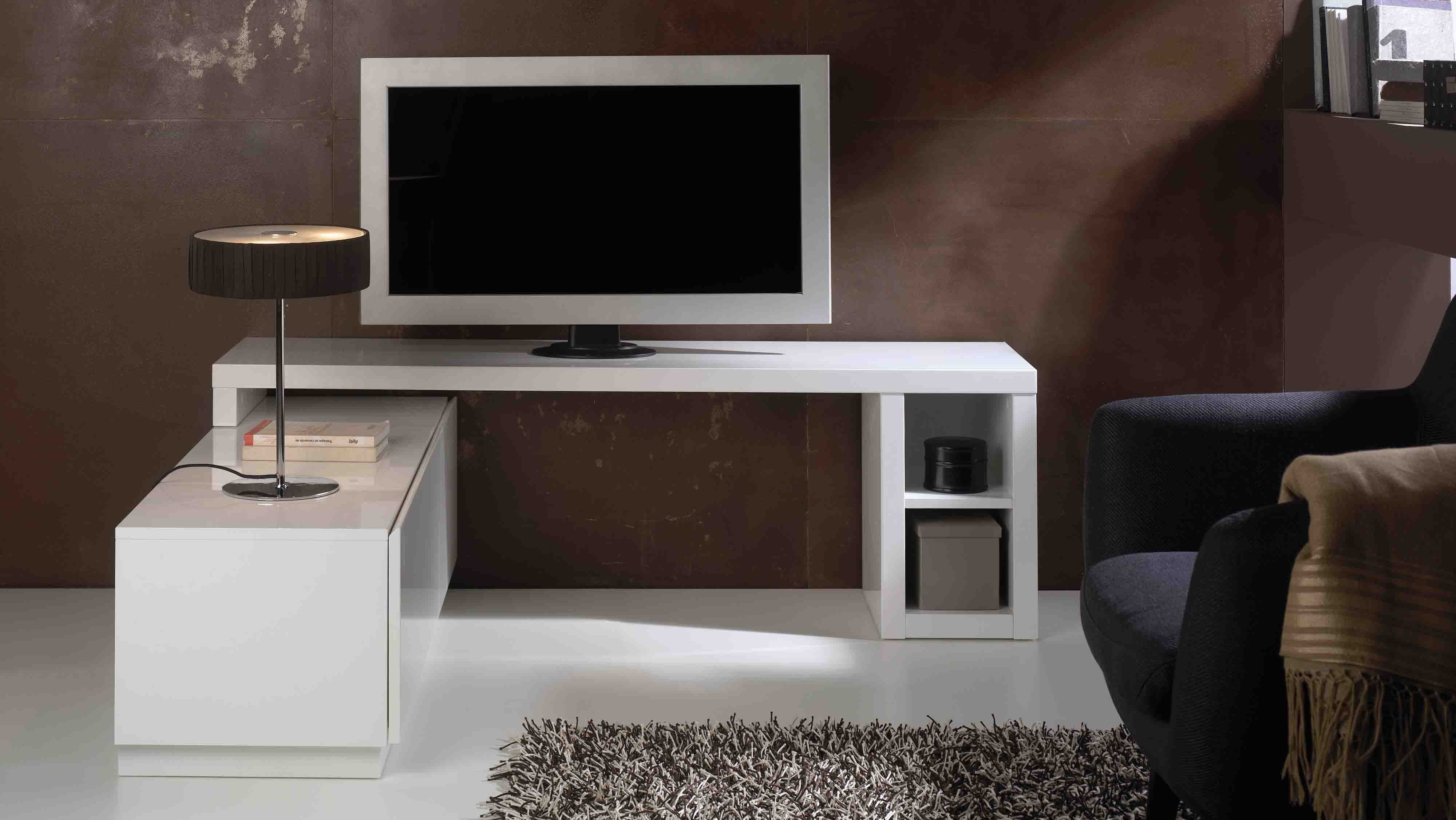 Ensemble Meuble Tv Moderne Avec Colonnes De Rangement Manoj  # Meuble Tv Suspendue