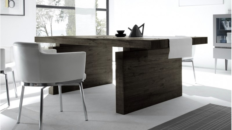 Table manger design rectangulaire bois weng 225 cm ivo for Table salle a manger rectangulaire