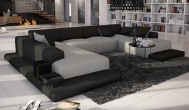 Canapé d'angle simili cuir gris et noir - Kherson