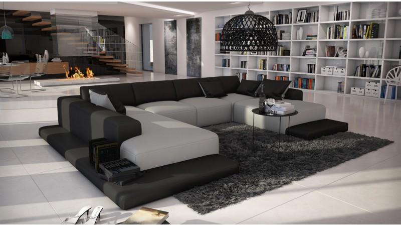 canap d 39 angle simili cuir gris clair et noir kherson. Black Bedroom Furniture Sets. Home Design Ideas
