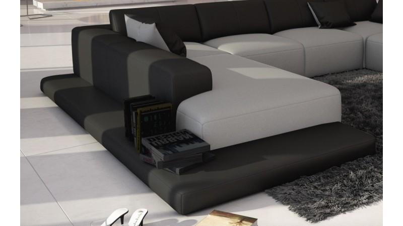 Canap d 39 angle simili cuir gris clair et noir kherson for Canape gris simili cuir