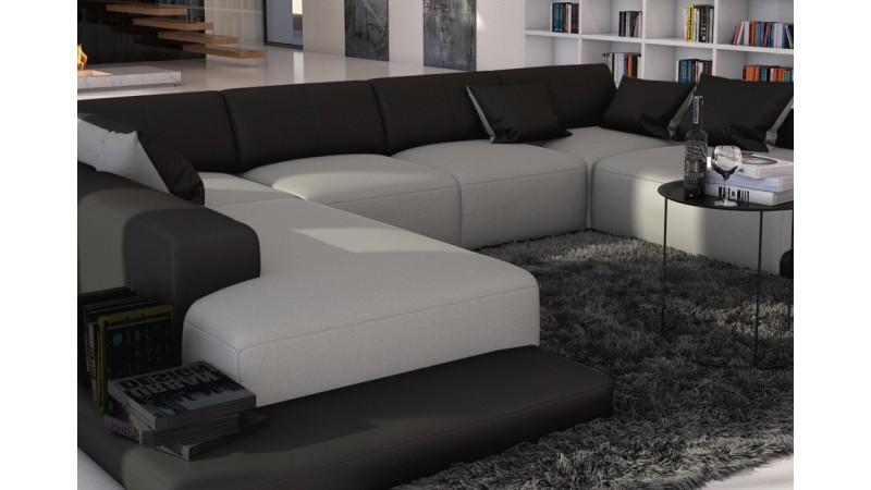 Canap d 39 angle simili cuir gris clair et noir kherson for Canape angle cuir gris