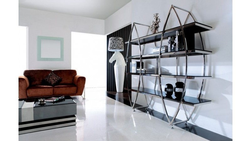biblioth que melbourne en acier chrom et tag res en verre tremp gdegdesign. Black Bedroom Furniture Sets. Home Design Ideas