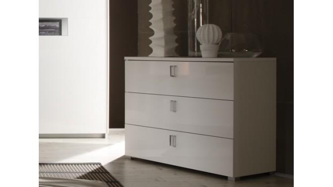 Commode de rangement 3 tiroirs laqu e blanche gemma for Commode rangement bureau
