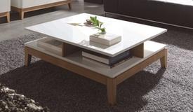 Table basse scandinave blanche et bois - Oswald