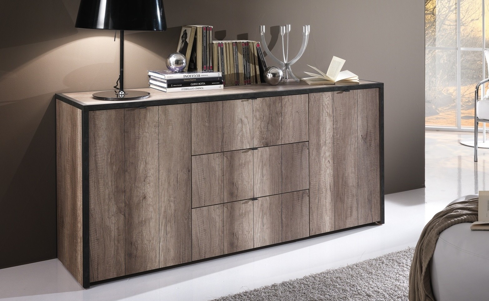 Buffet design industriel 38 cm, bois et gris foncé Blair - GdeGdesign - Bahut Style Industriel