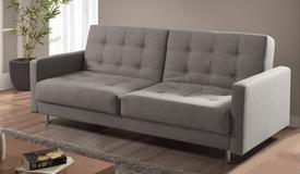 Canapé lit capitonné en tissu gris - Vitali