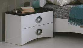 Chevet design 2 tiroirs noir et blanc - Ros