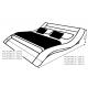 Lit design 140x190 cm noir avec lumière - Ozark