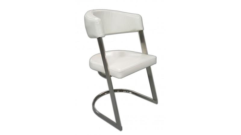 Chaise de salle manger blanche aron en cuir simili for Chaise salle a manger simili cuir blanc