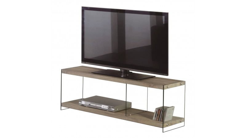 Meuble tv design noor en verre tremp et bois gdegdesign for Meuble tv design bois