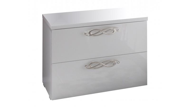 chevet laqu blanc 2 tiroirs poign es chrom es lola gdegdesign. Black Bedroom Furniture Sets. Home Design Ideas