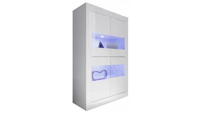 Vitrine design LED laquée blanche 4 portes - Lernig