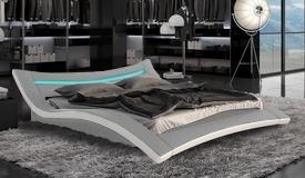 Lit LED simili cuir gris et blanc 160x200 cm - Eden