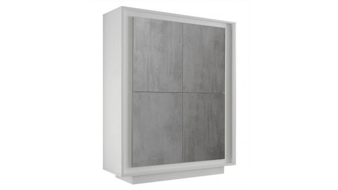 Buffet haut 4 portes béton laqué blanc mat - Dov