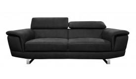Canapé 3 places noir tissu imitation cuir - Terzo
