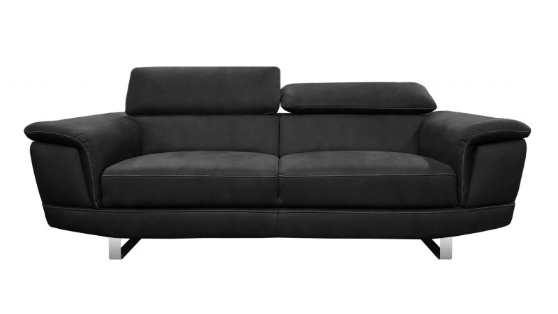 canap 3 places design terzo en tissu noir imitation cuir. Black Bedroom Furniture Sets. Home Design Ideas