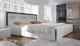 Lit design blanc et noir lumineux 160x200 cm - Preston