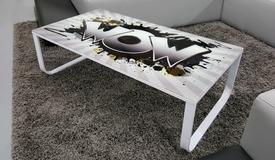 Table basse design verre avec motif - Lizig