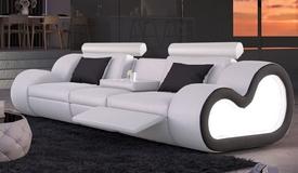 Canapé 3 places cuir + simili blanc/noir - Atco