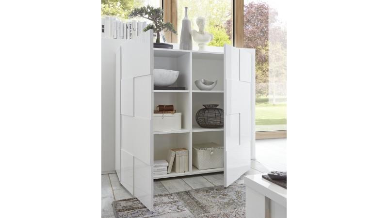 bahut haut de rangement 2 portes laqu blanc faust gdegdesign. Black Bedroom Furniture Sets. Home Design Ideas