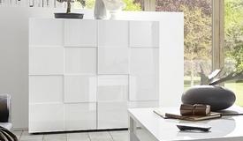 Buffet design 2 portes laqué blanc - Faust