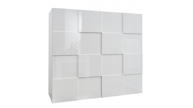 Bahut haut de rangement 2 portes laqué blanc Faust - GdeGdesign