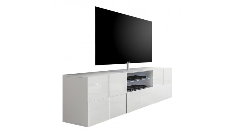 meuble tv 2 portes 1 tiroir laqu blanc avec led faust. Black Bedroom Furniture Sets. Home Design Ideas
