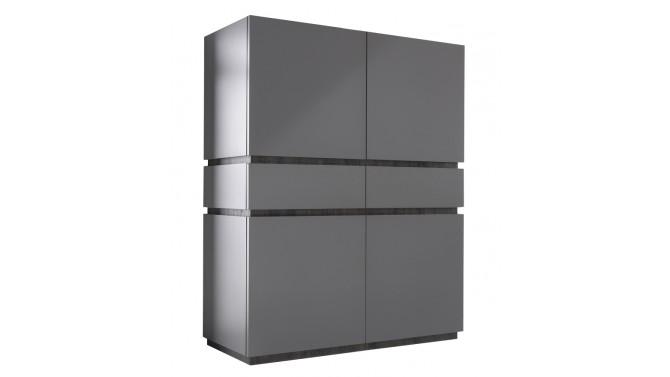 Bahut haut 4 portes + 2 tiroirs laqué gris mat - Ivo