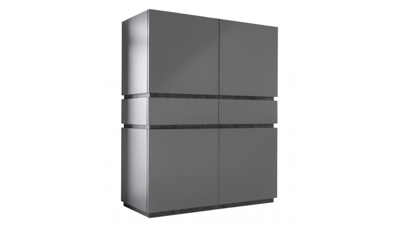 Buffet haut 4 portes + 2 tiroirs laqué gris mat Ivo - GdeGdesign