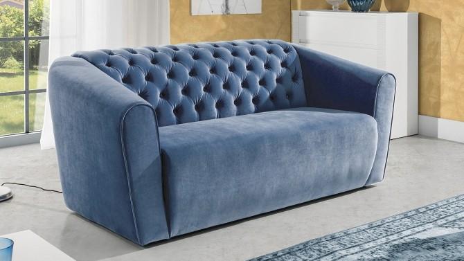 canap design de salon en velours 2 places capitonn milo. Black Bedroom Furniture Sets. Home Design Ideas