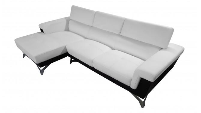Canapé d'angle design en cuir simili bicolore - Zack