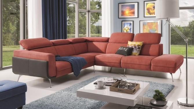 Canapé d'angle design tissu + simili cuir - Melker