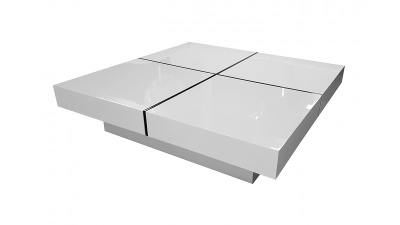 table basse design de salon carr e lauren laqu e blanche. Black Bedroom Furniture Sets. Home Design Ideas