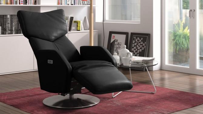 Fauteuil cuir électrique de relaxation moderne - Dillon