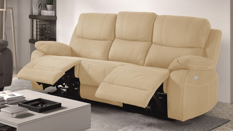 canape de relaxation 3 places moderne en tissu russell With tapis moderne avec relax canapé microfibre taupe 3 places