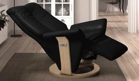 Fauteuil relax électrique design cuir et bois - Orio